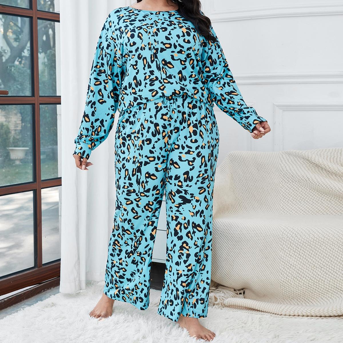 Conjunto de pijama camiseta con estampado con pantalones de cintura con nudo