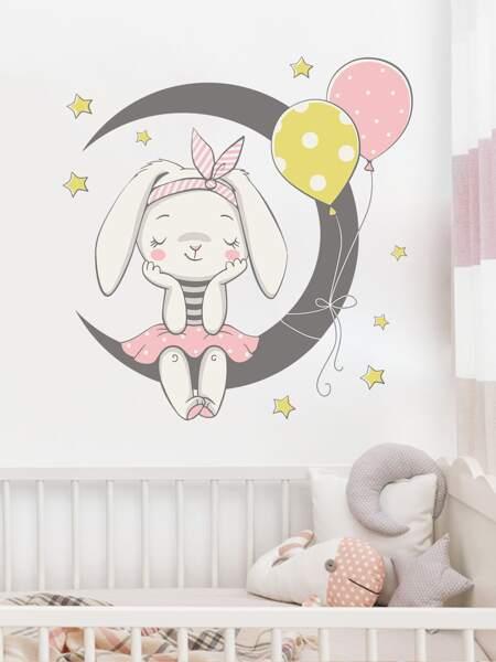 Kids Cartoon Rabbit Print Wall Sticker