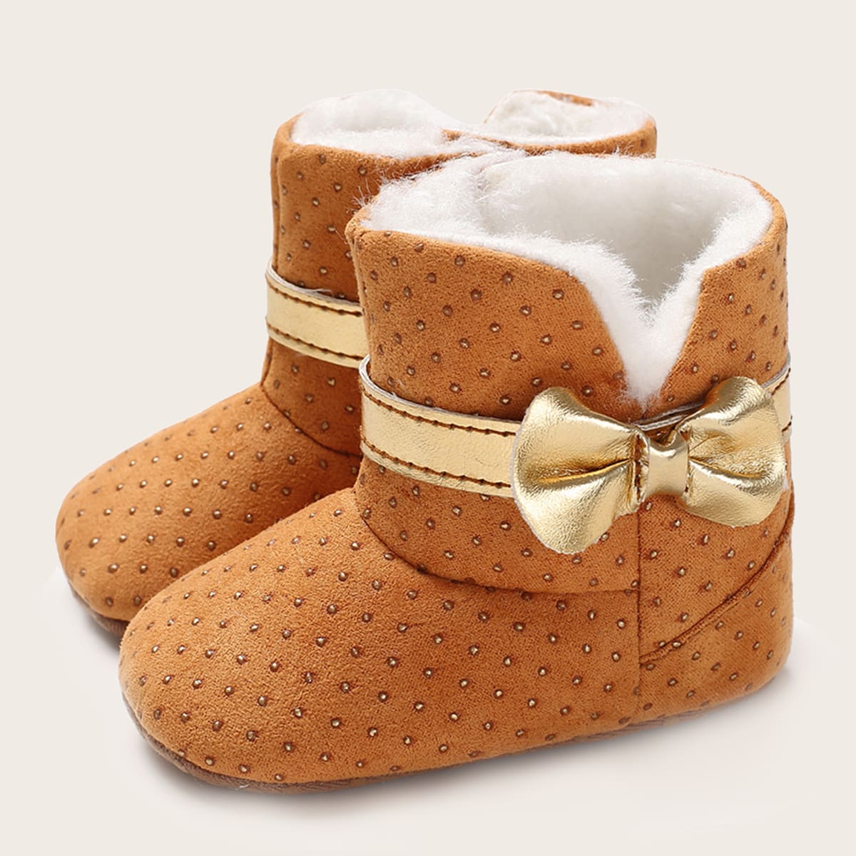 shein Baby Girl Bow Decor Pluche Inside Boots