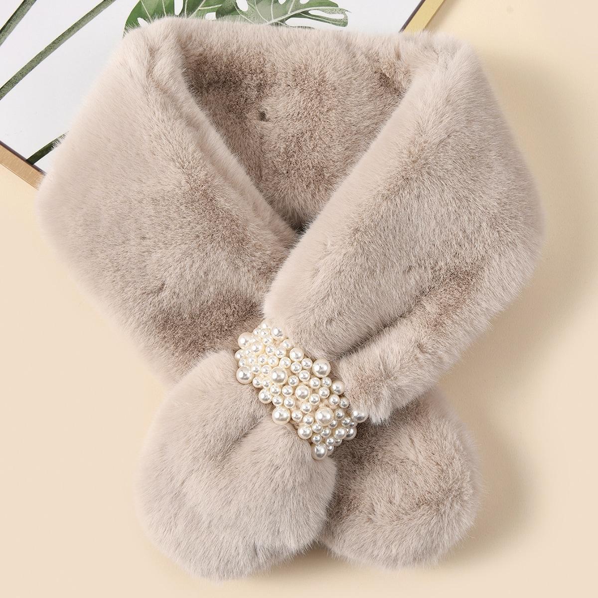 shein Fluffy Tippet-sjaal met imitatieparel