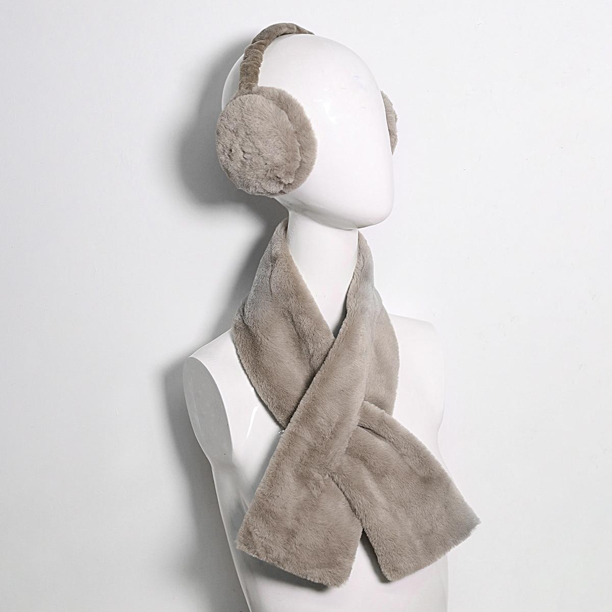 shein Stevige pluizige sjaal en oorwarmers