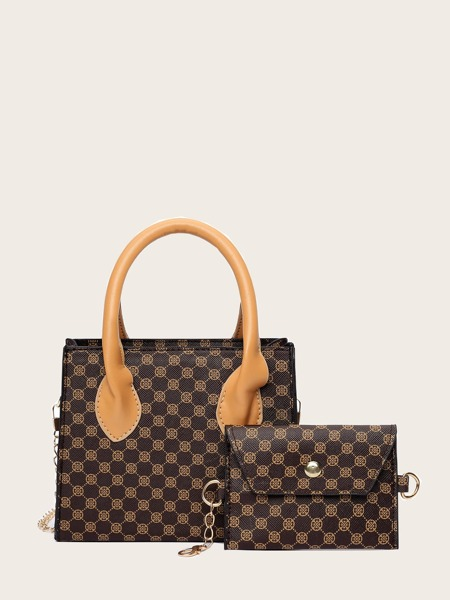 Quilted Satchel Bag With Crossbody Bag