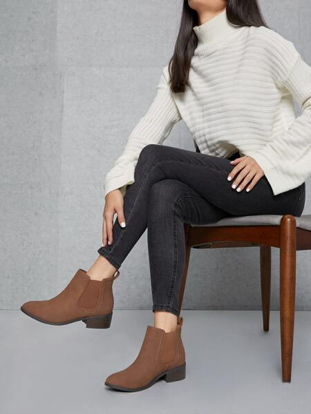 Faux Leather Block Heel Chelsea Boots