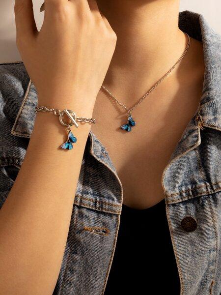 1pc Butterfly Pendant Necklace & 1pc Bracelet