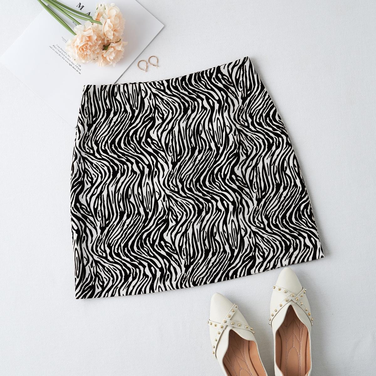 Faldas Cremallera Estampado de Cebra Casual