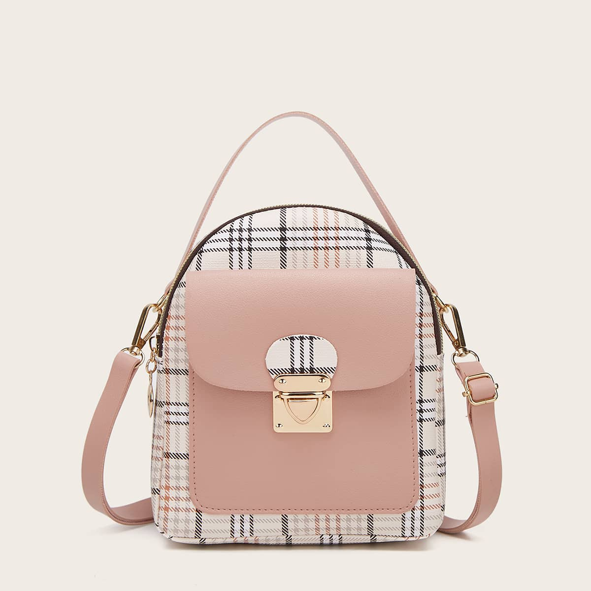 Push Lock Plaid Backpack