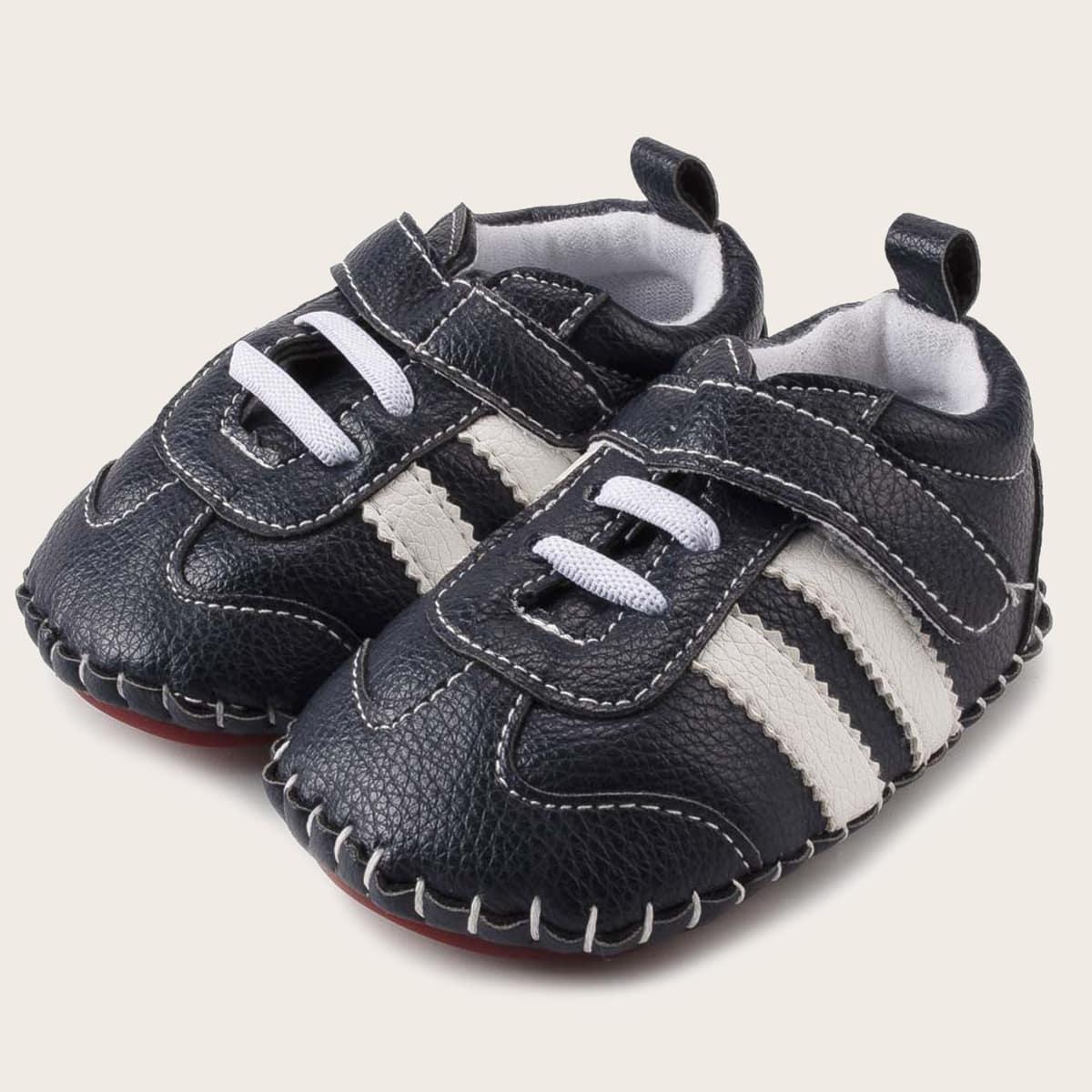 shein Gestreepte sneakers met klittenband voor babymeisjes