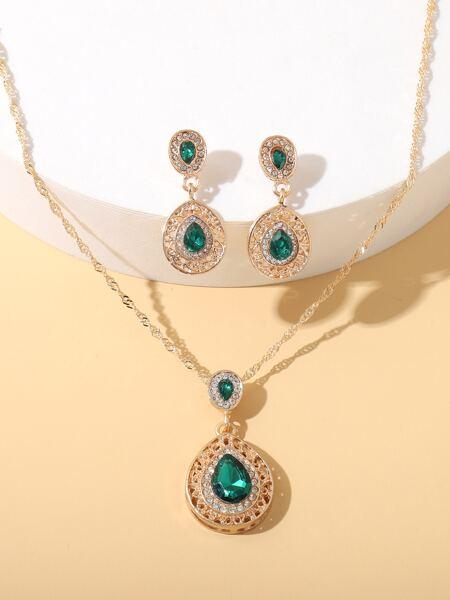 3pcs Rhinestone Water Drop Decor Jewelry Set