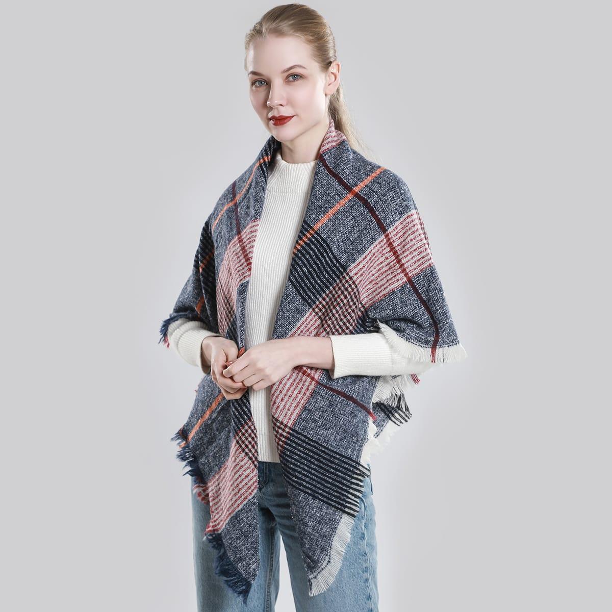 shein Geruite patroon ruwe zoom sjaal