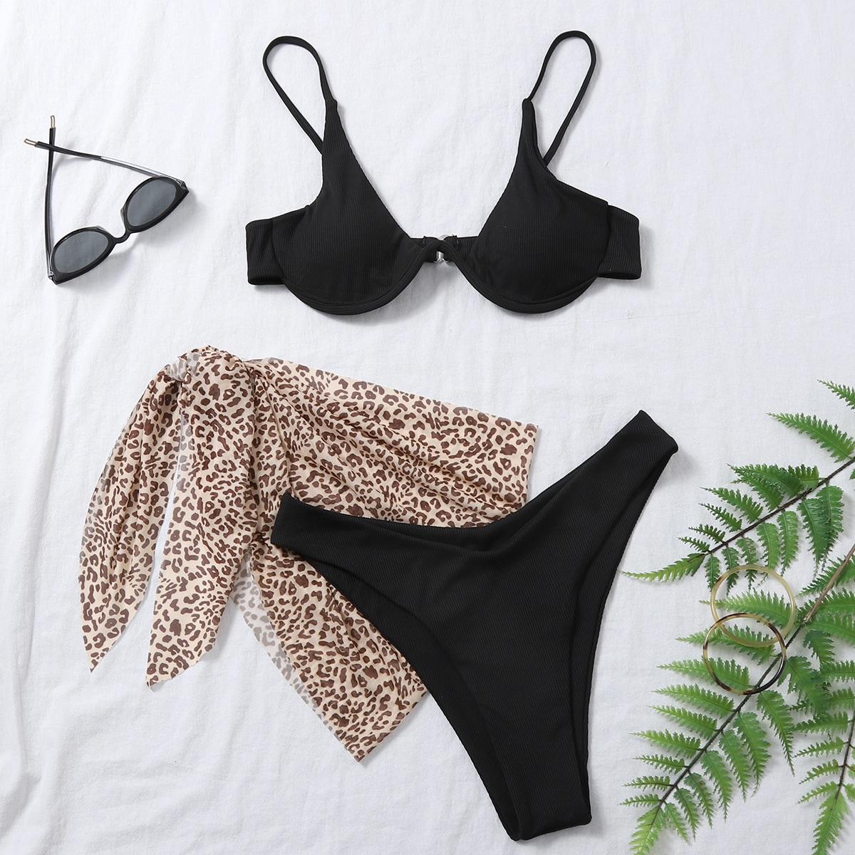 SHEIN / 3pack Rib Underwire Bikini Swimsuit & Leopard Beach Skirt