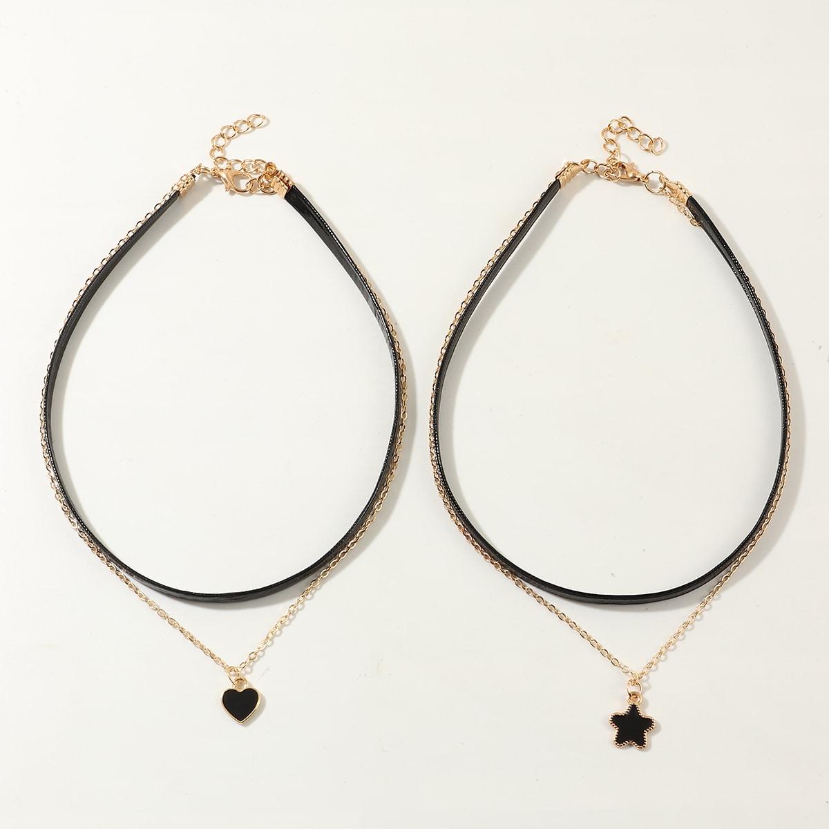 SHEIN / 2 Stücke Mädchen Halskette mit Herzen & Stern Anhänger