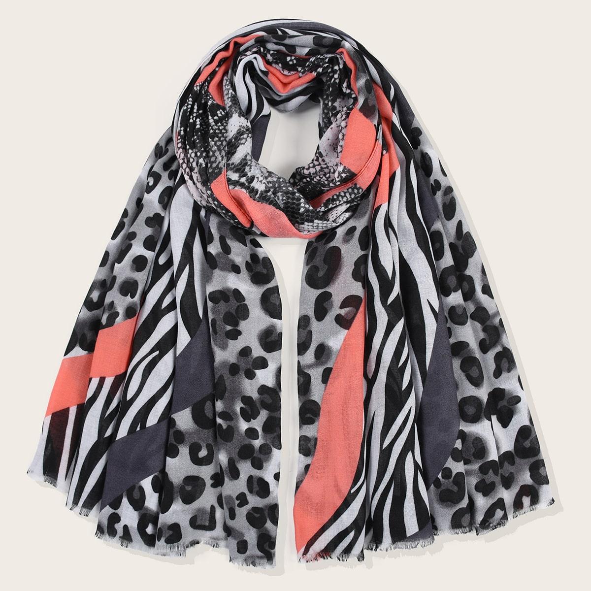 shein Colourblock-sjaal met luipaardprint