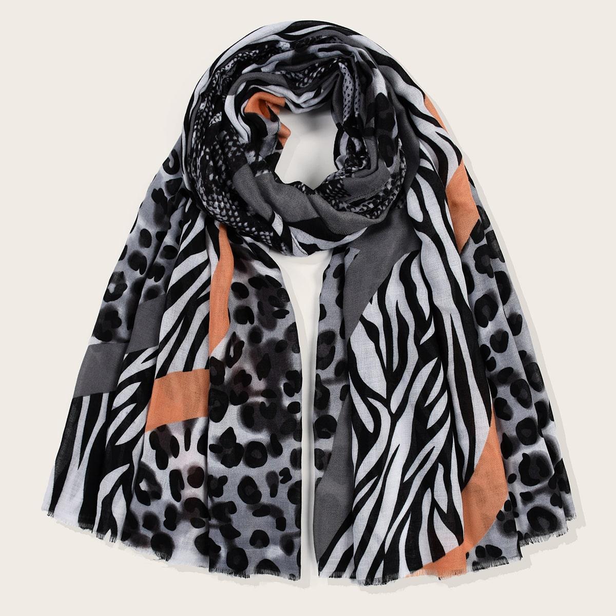 shein Sjaal met luipaard- en slangenprint