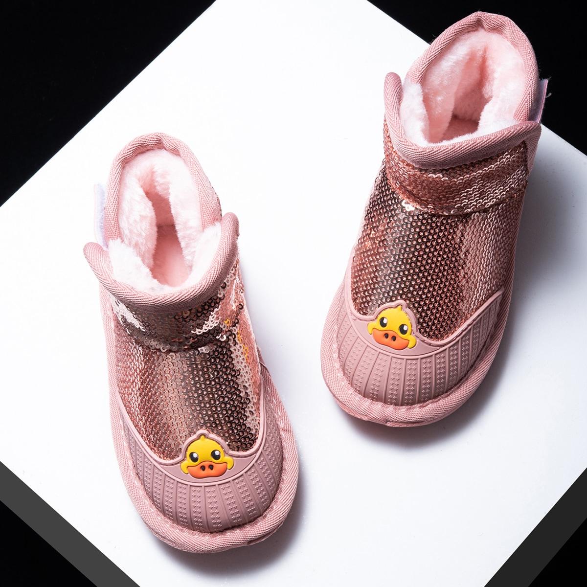 SHEIN / Kleinkind Mädchen Stiefel mit Pailletten Dekor und Kunstpelz Futter