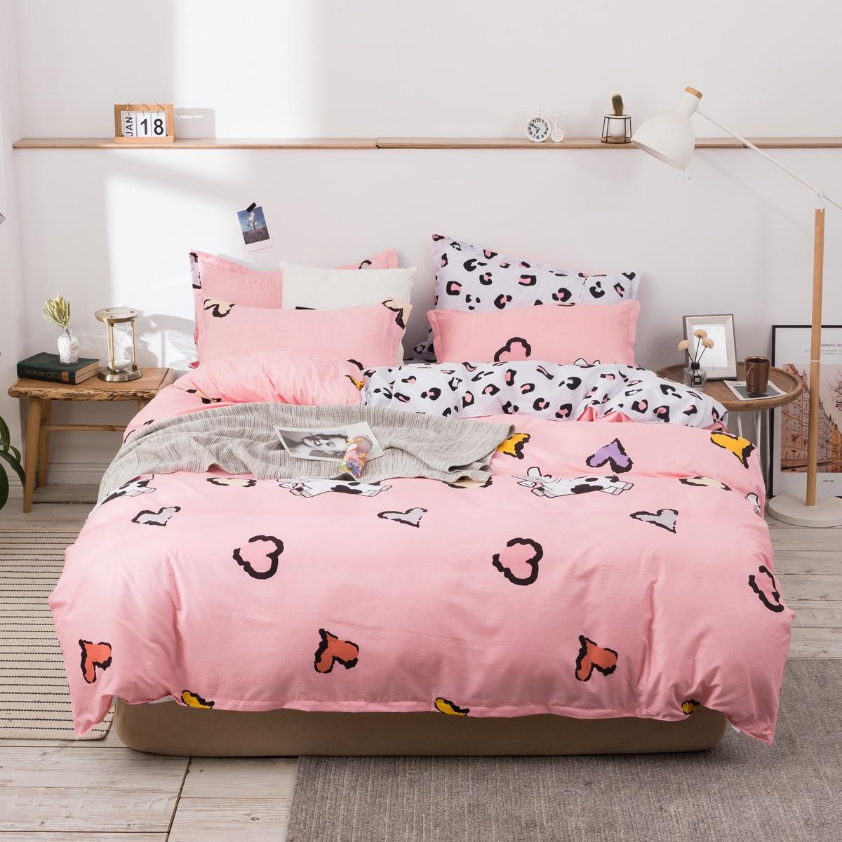 Set ropa de cama con estampado de leopardo sin relleno