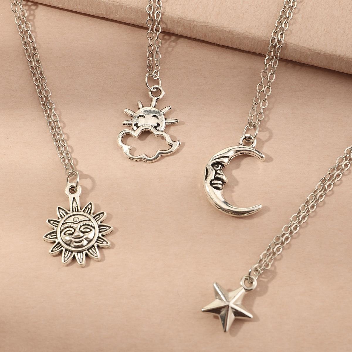 SHEIN / 4 Stücke Mädchen Halskette mit Stern Anhänger