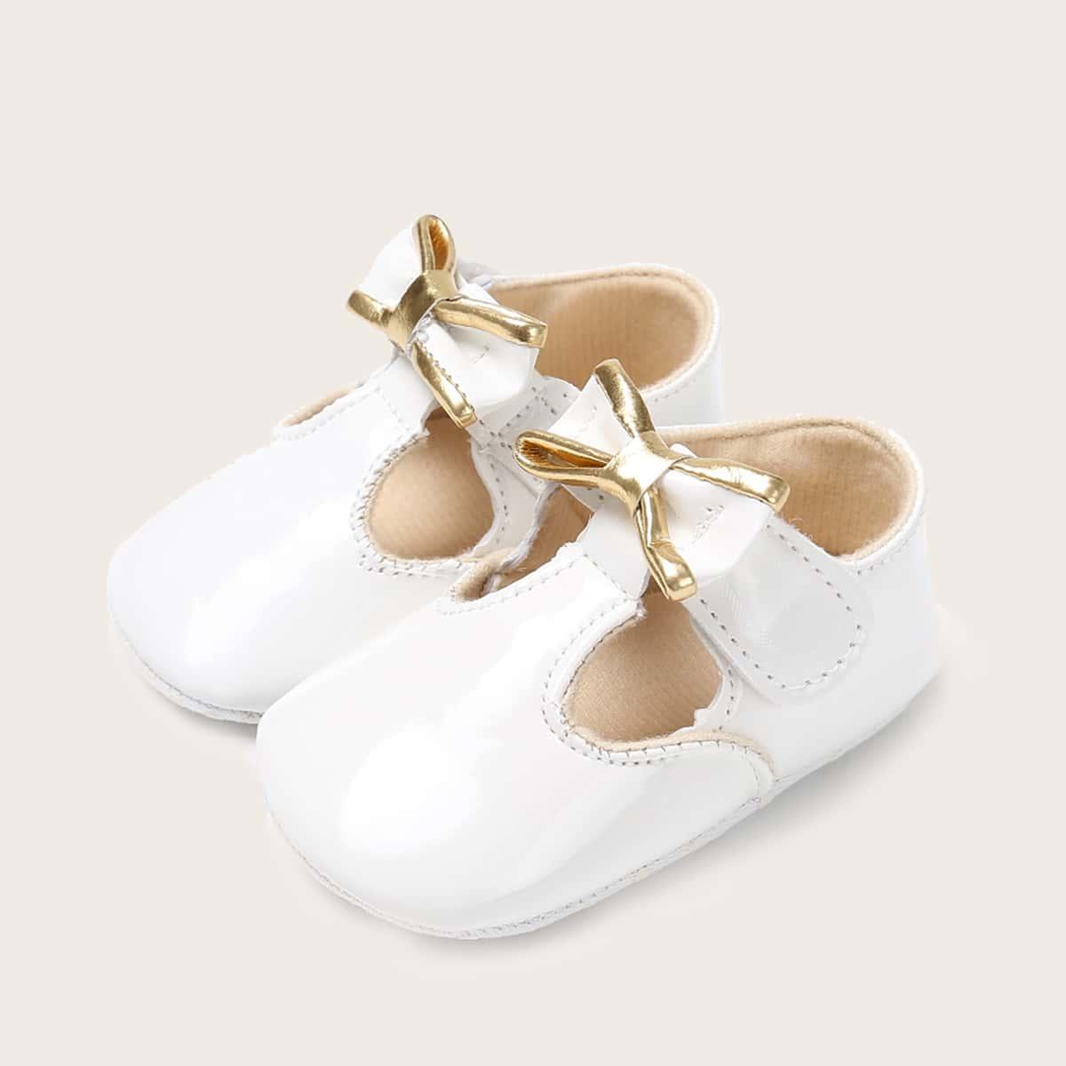 shein Baby Girl Bow Decor Velcro Strap Flats