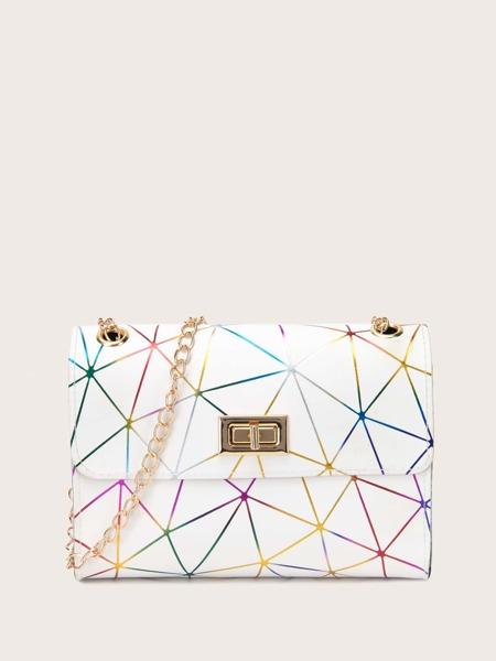 Geometric Graphic Turn-Lock Chain Bag