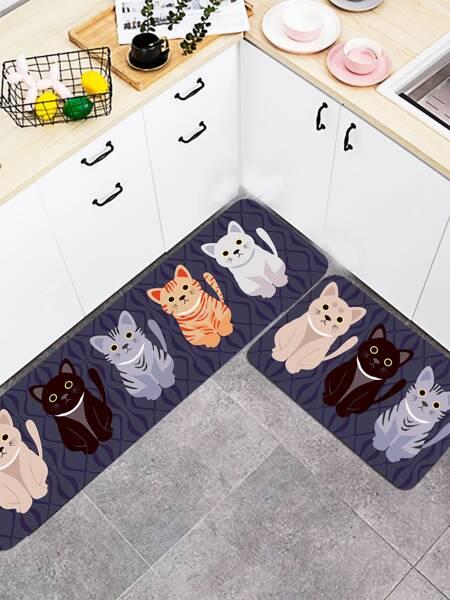1pc Cartoon Cat Print Floor Mat