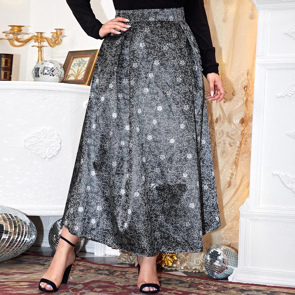 SHEIN / Plus High Waist Floral Jacquard Skirt
