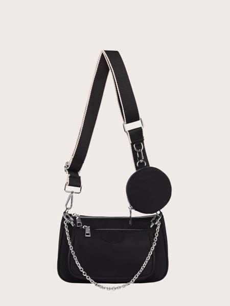 3pcs Minimalist Zipper Shoulder Bag Set