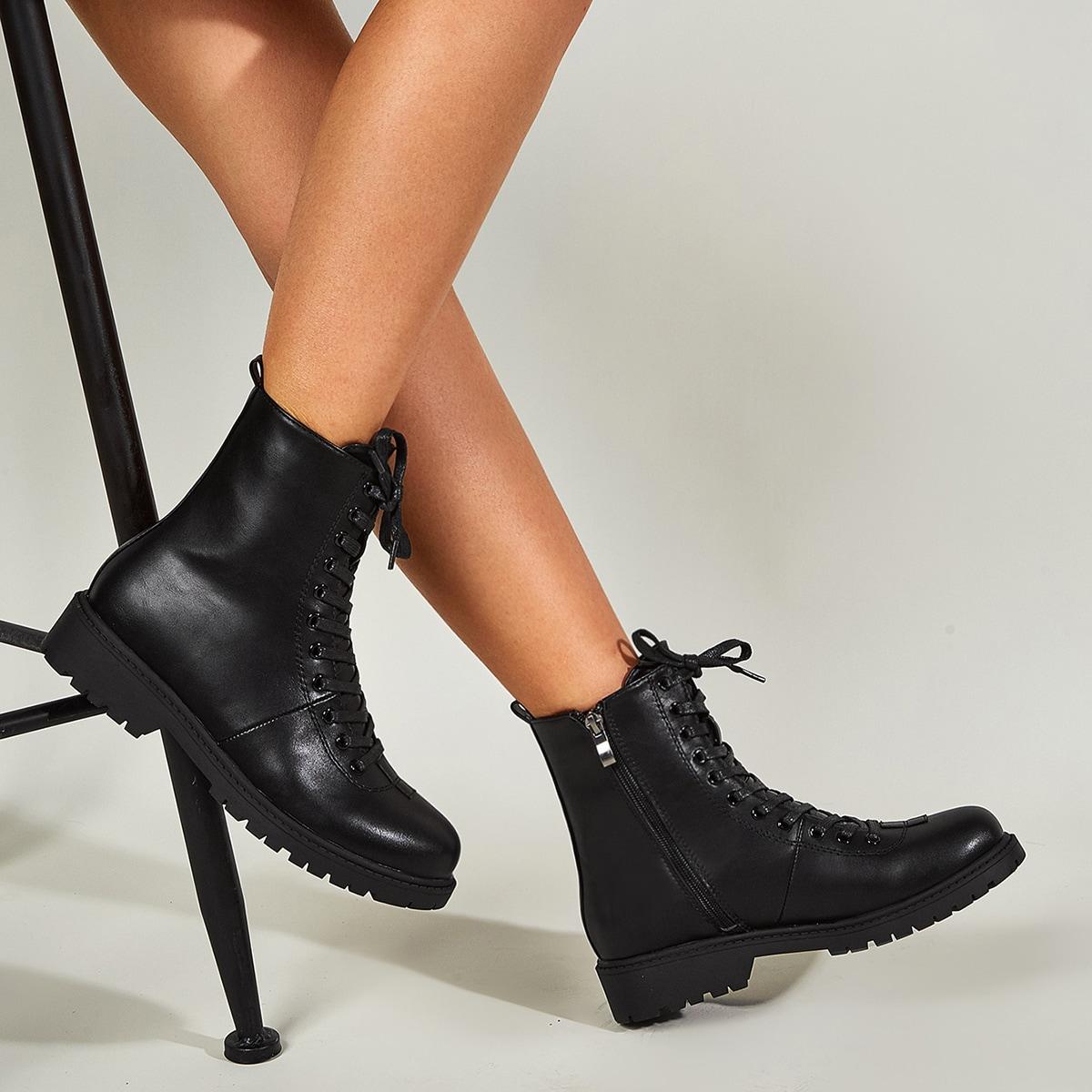 SHEIN / Minimalistische Stiefel mit Reißverschluss zum Schnüren