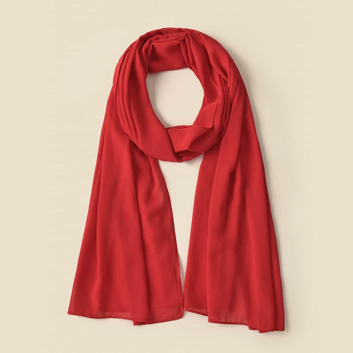 shein Pure kleur chiffon sjaal