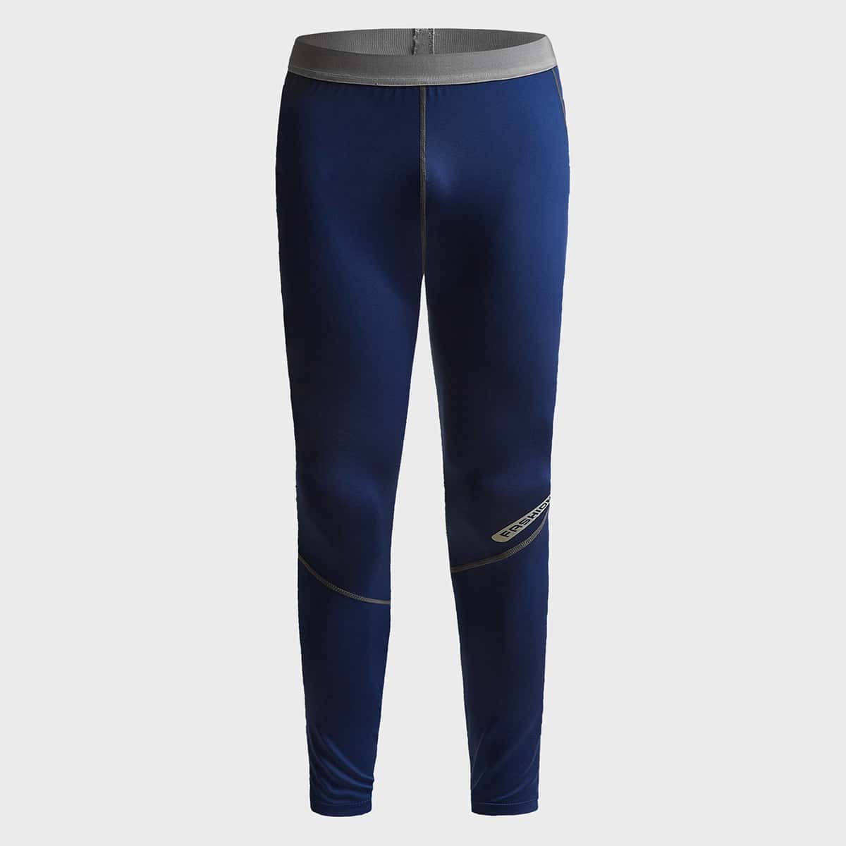Men Letter Graphic Contrast Topstitching Sport Tights