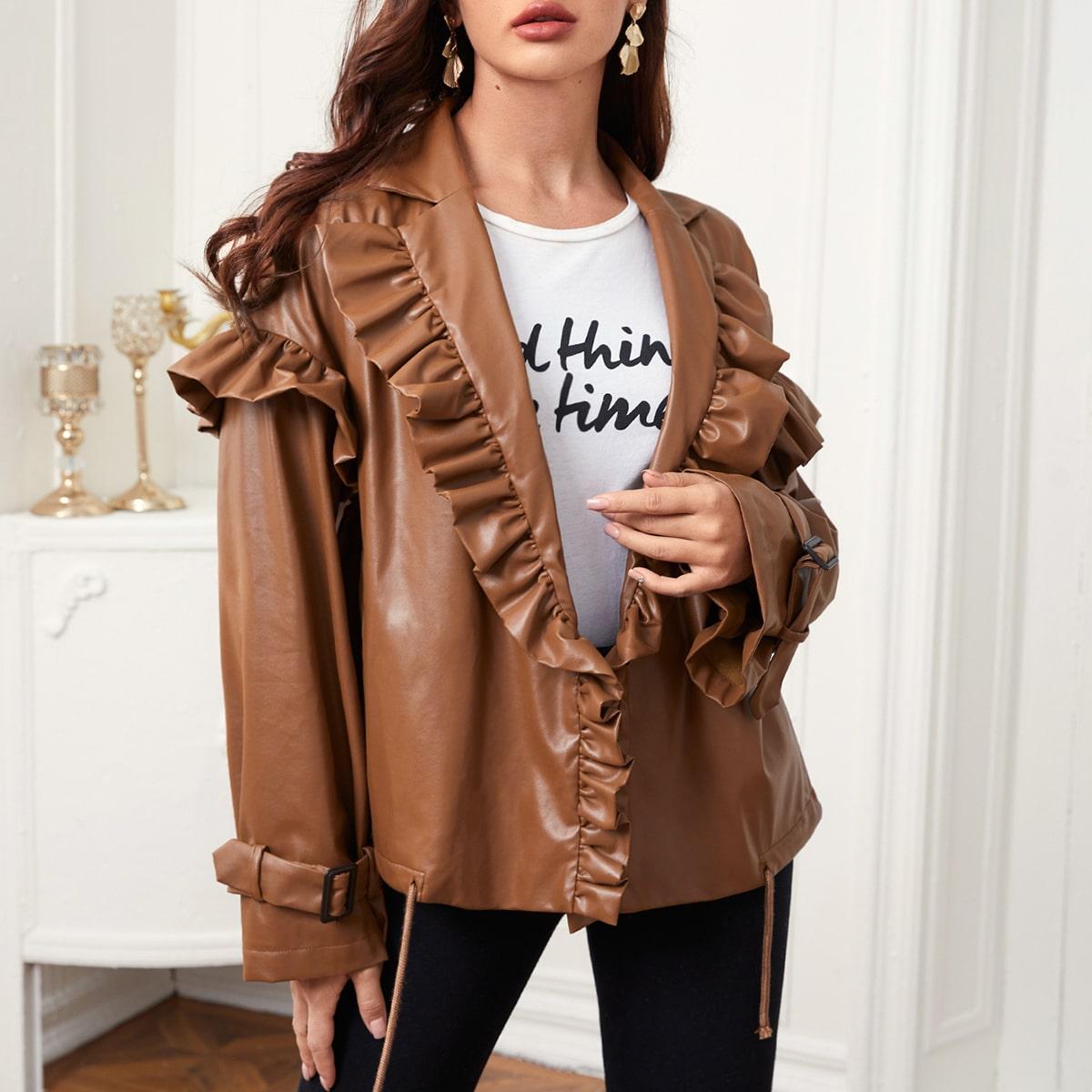 SHEIN / PU Leder Mantel mit Revers, Rüschen Detail und Schnürung