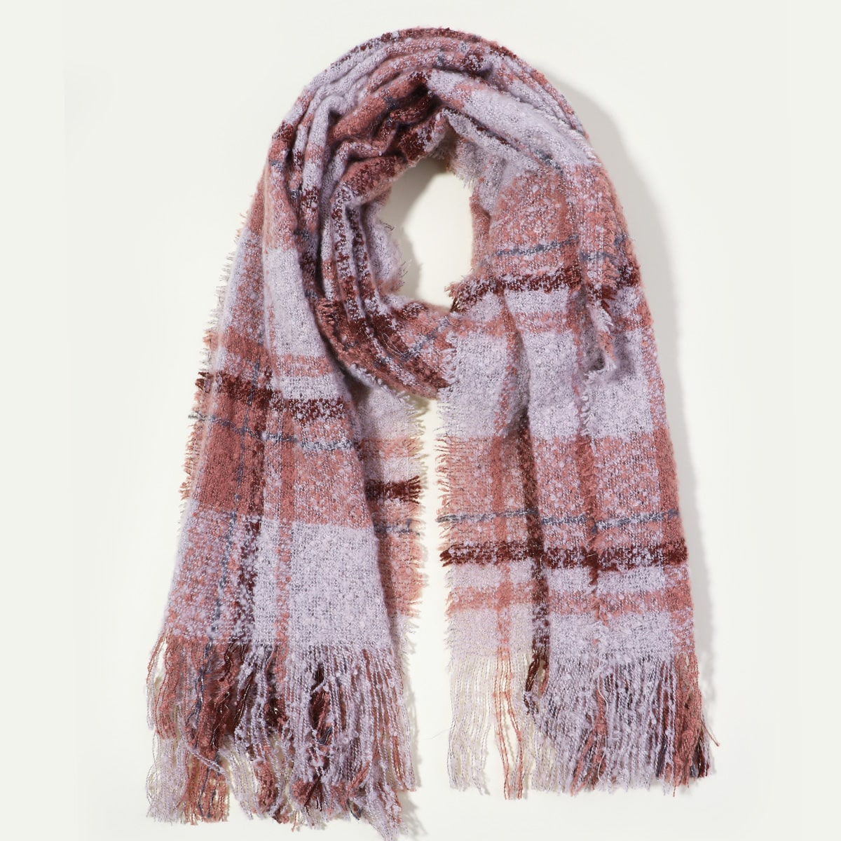shein Tartan sjaal met zoom met franjes
