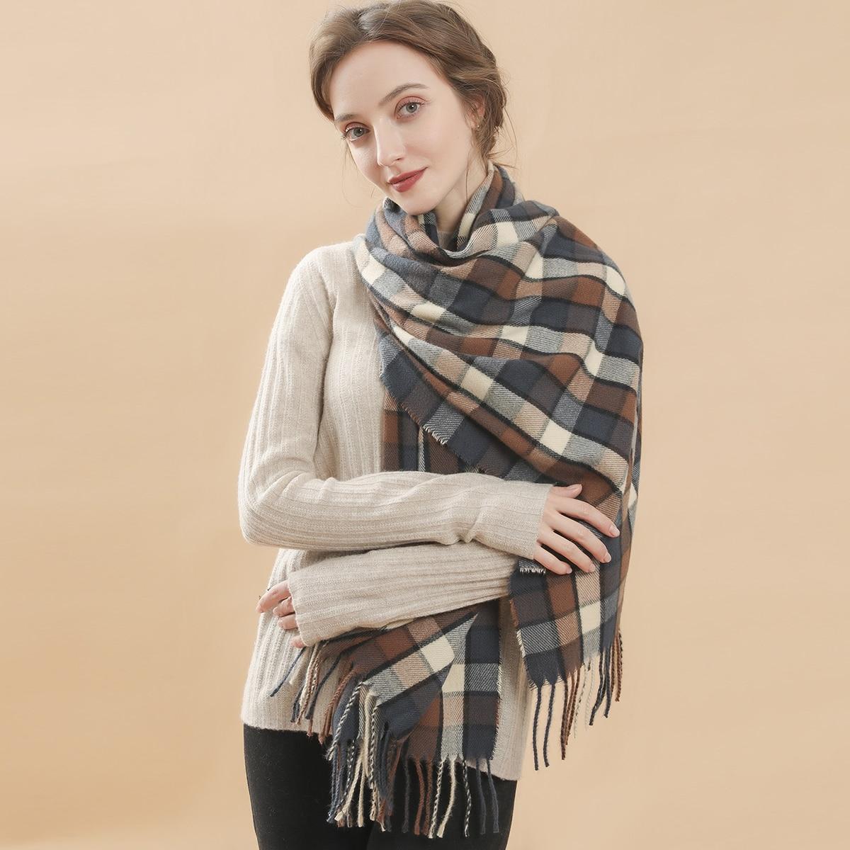 shein Geruite patroon franje zoom sjaal
