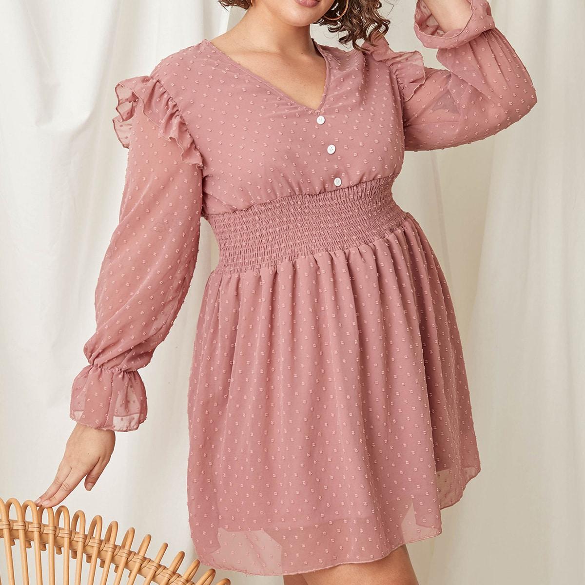 SHEIN / Kleid mit Punkten Muster, Rüschenbesatz und geraffter Taille