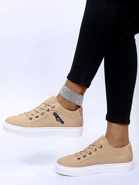 Zipper Decor Canvas Shoes