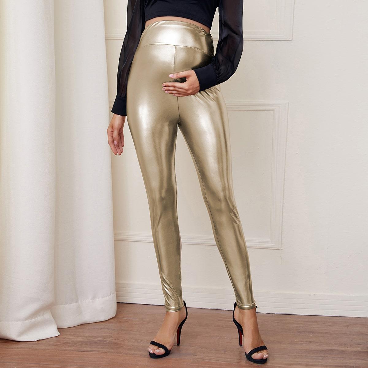 Леггинсы для беременных с широким поясом и текстурой металла от SHEIN
