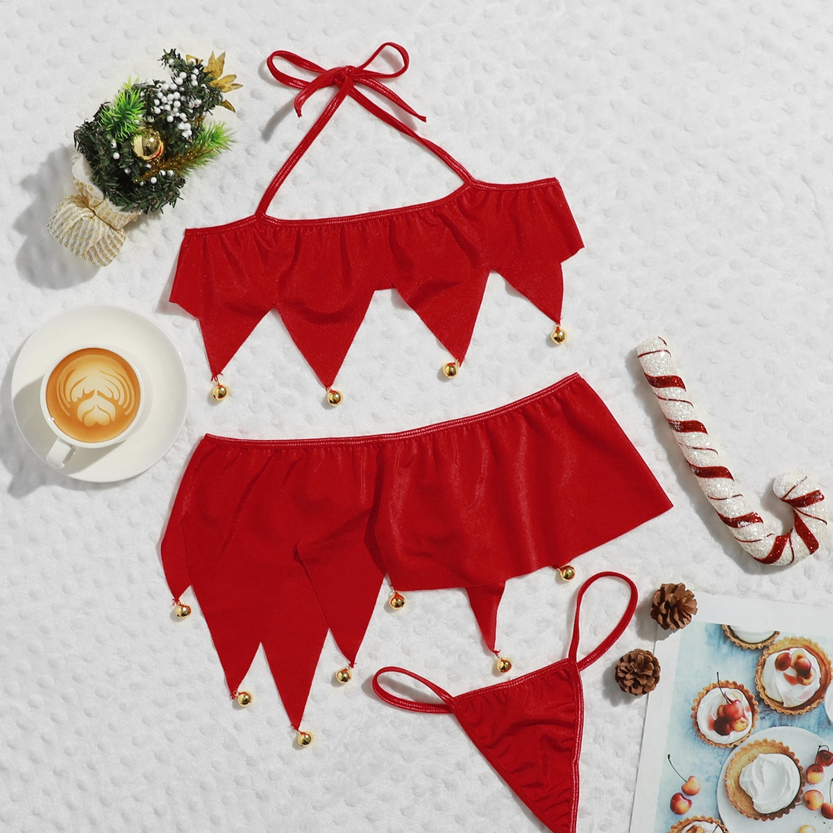 3pack Christmas Zigzag Cut Bell Trim Halter Costume Set