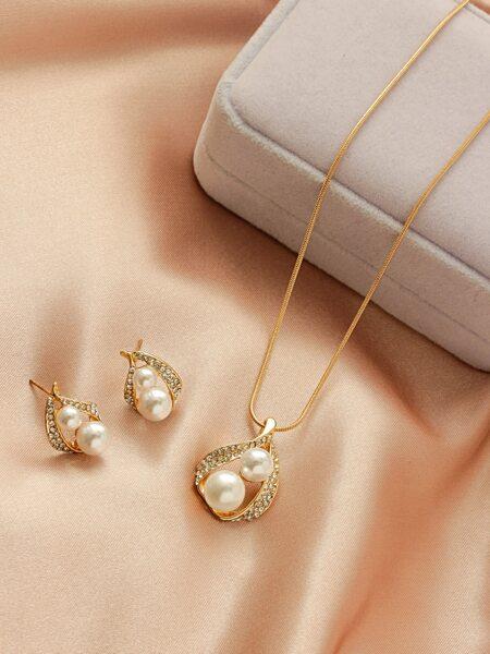 3pcs Faux Pearl Decor Jewelry Set
