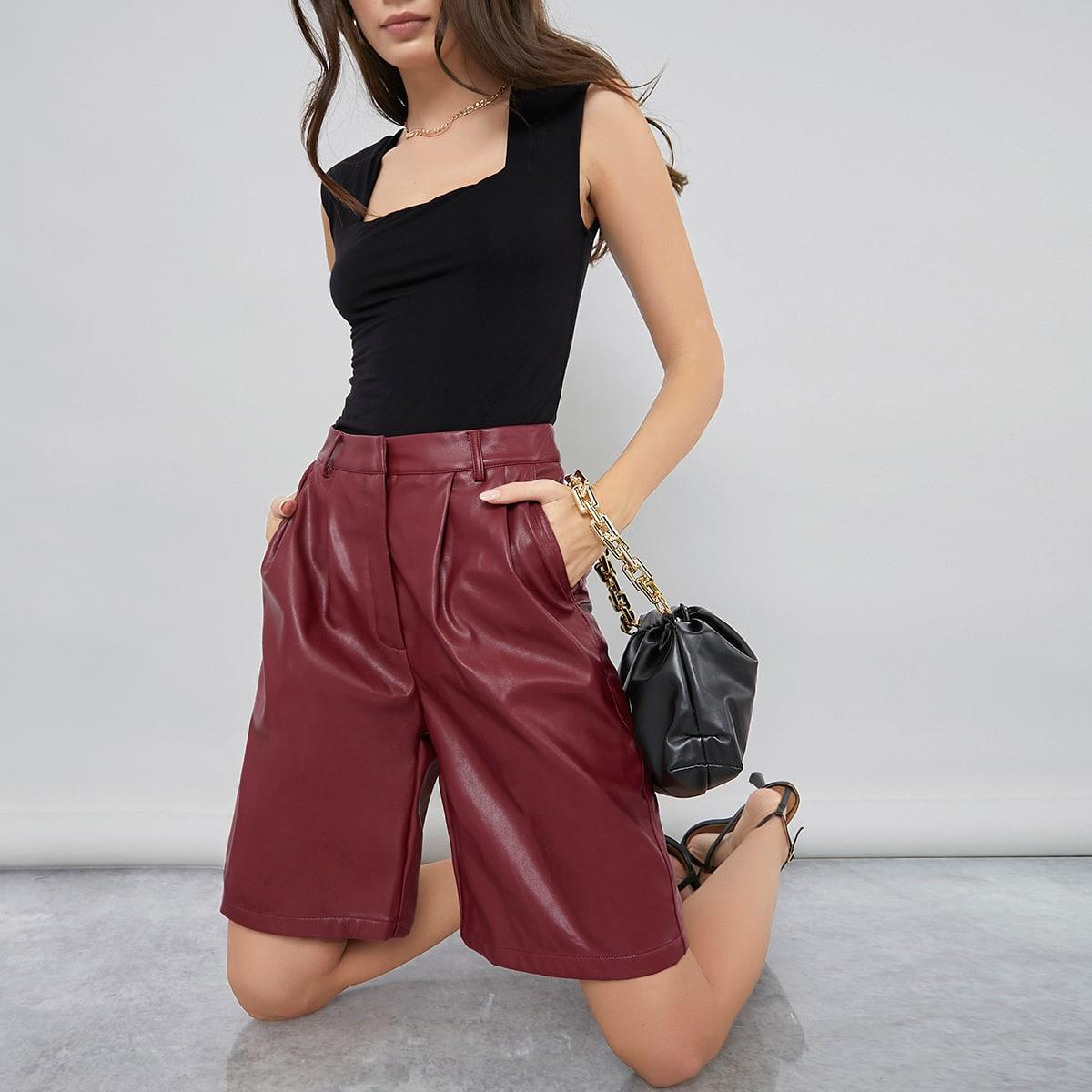 PU Leather Bermuda Shorts