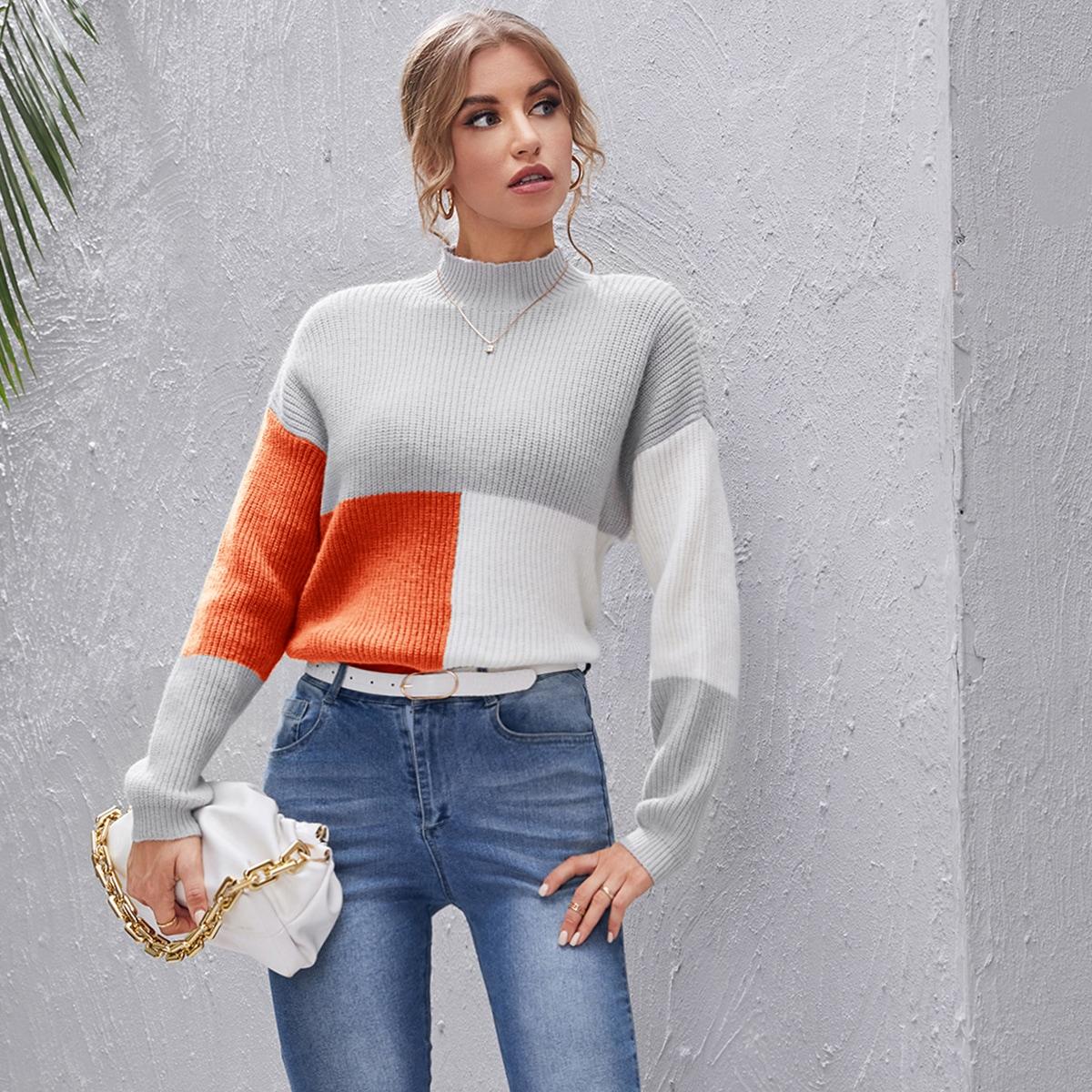 Jersey de color combinado de hombros caídos