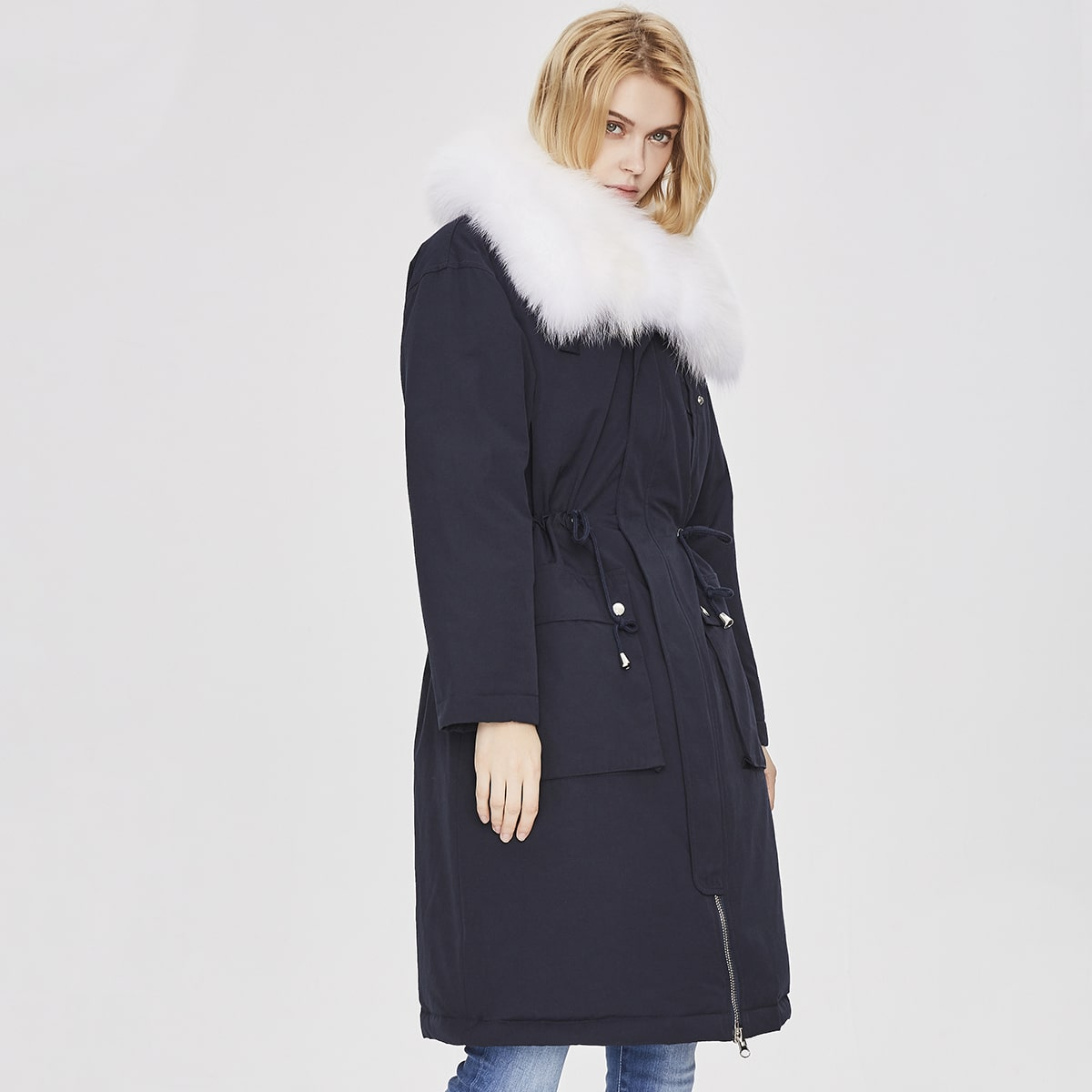 Drawstring Waist Flap Pocket Contrast Faux Fur Down Coat