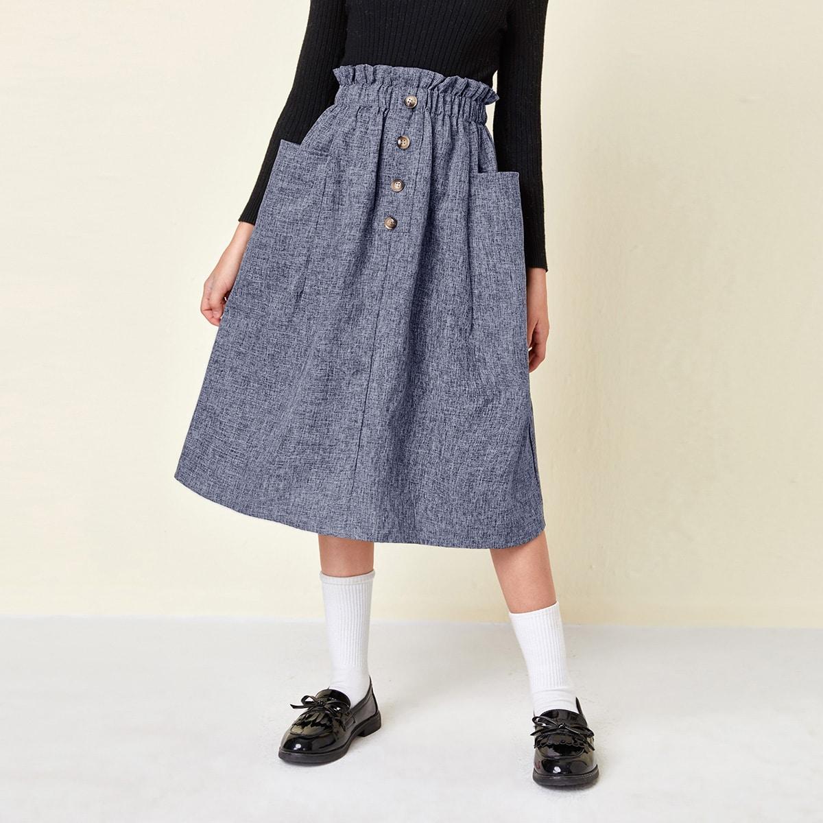 Faldas para niñas Bolsillo Liso Casual