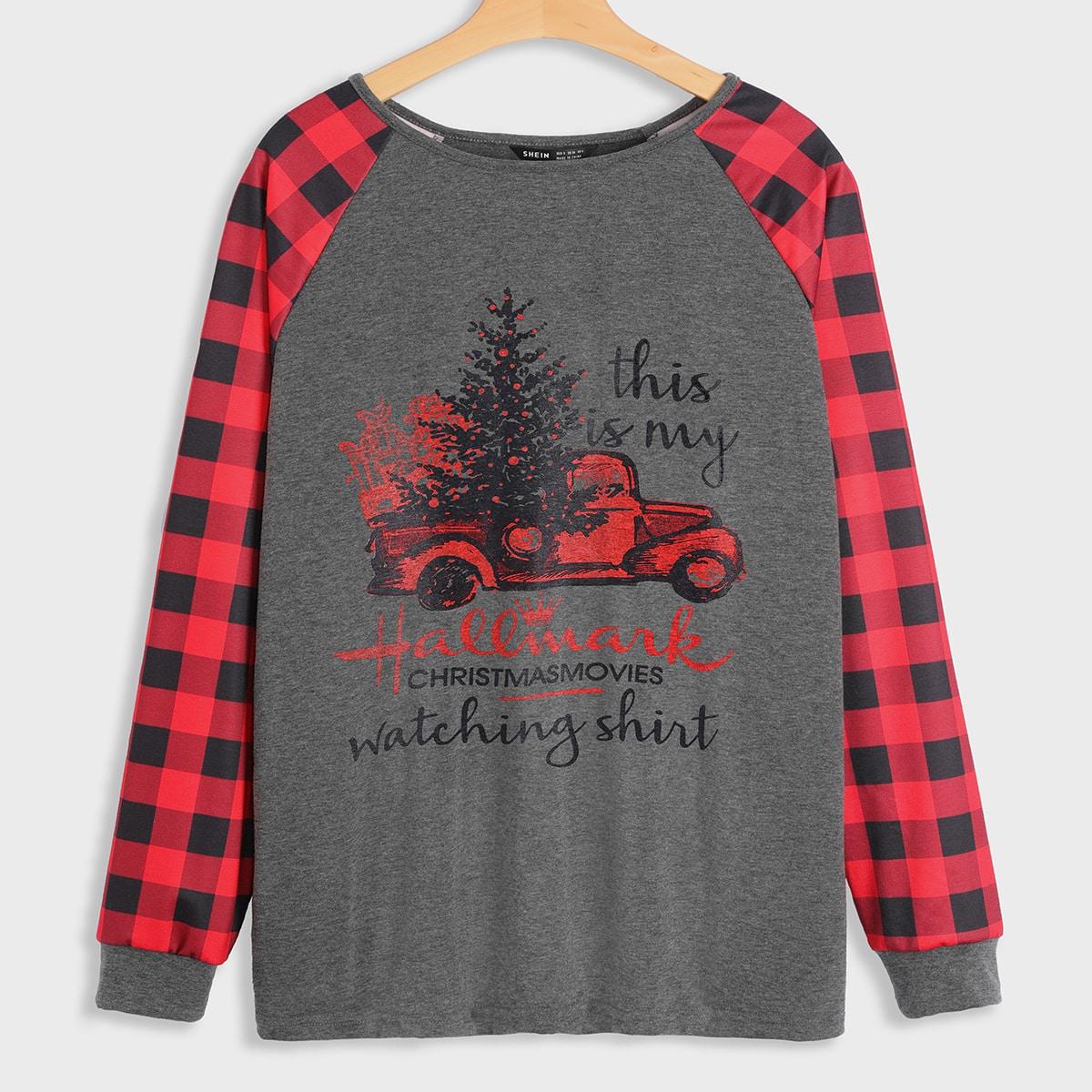 SHEIN / Christmas & Slogan Graphic Raglan Sleeve Sweatshirt