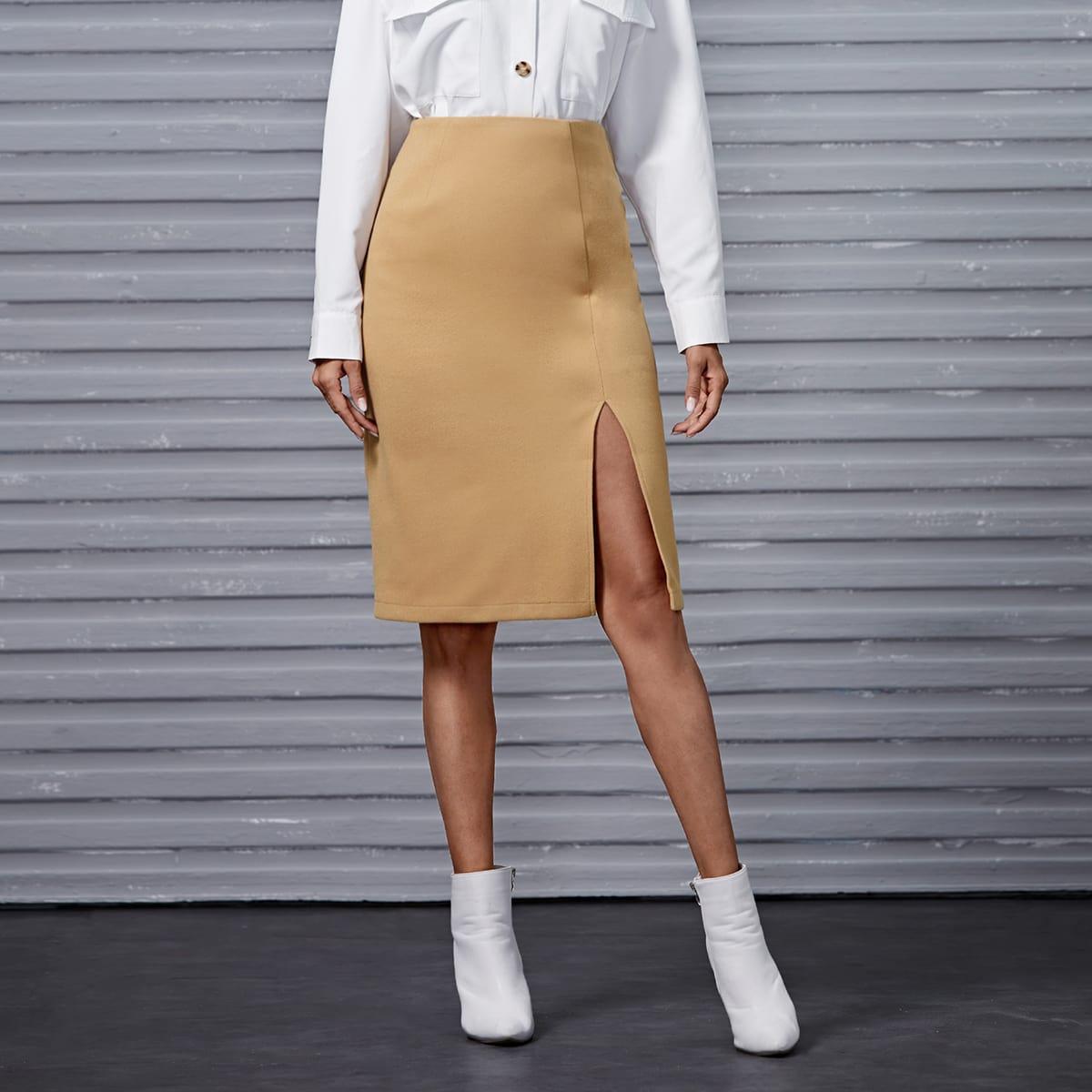 Falda tejida de mezcla de lana de cintura alta