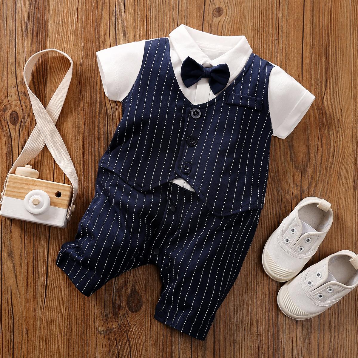 Baby Boy 2 In 1 Striped Bow Tie Tuxedo Romper