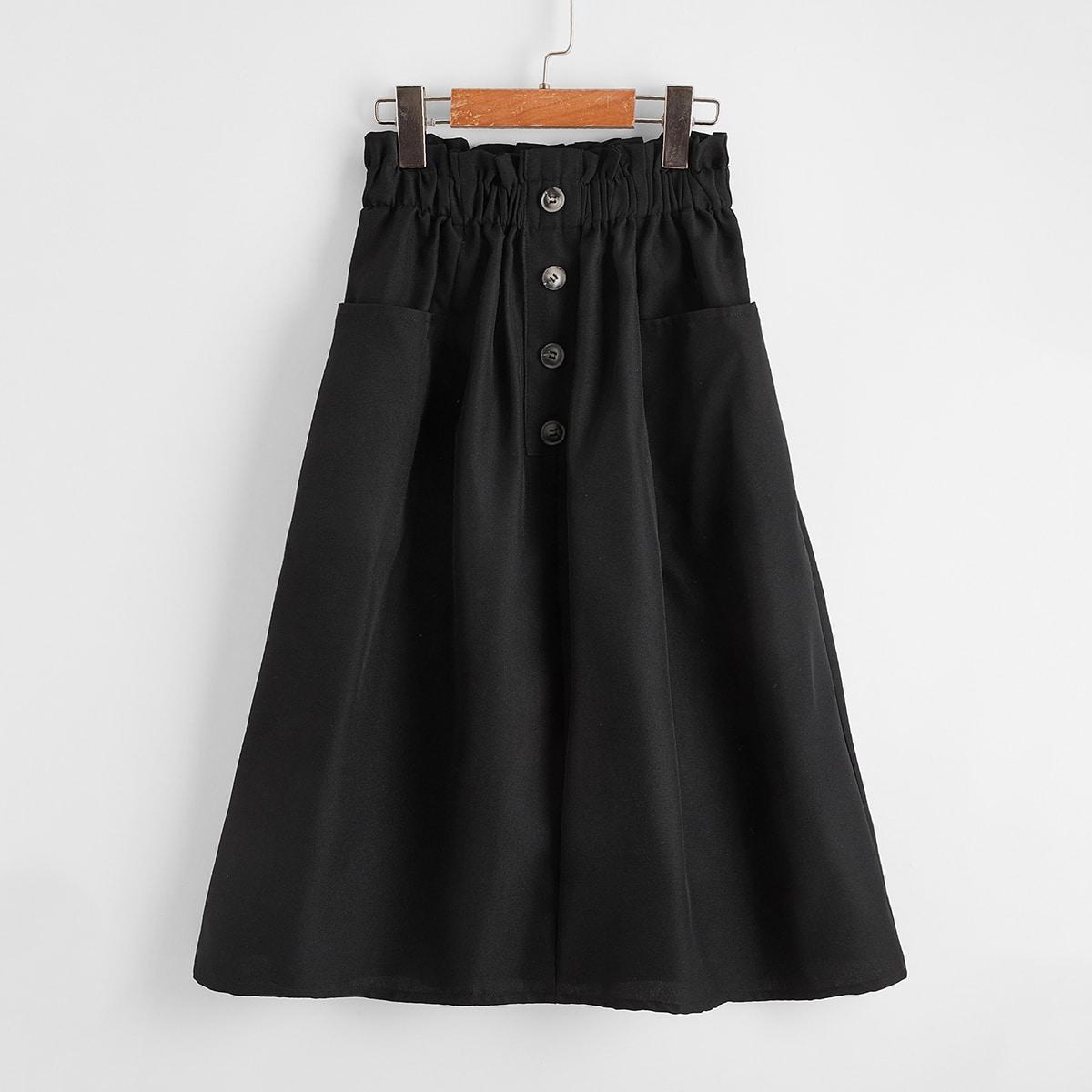 Falda de mirada de lino con botón delantero de cintura con volante