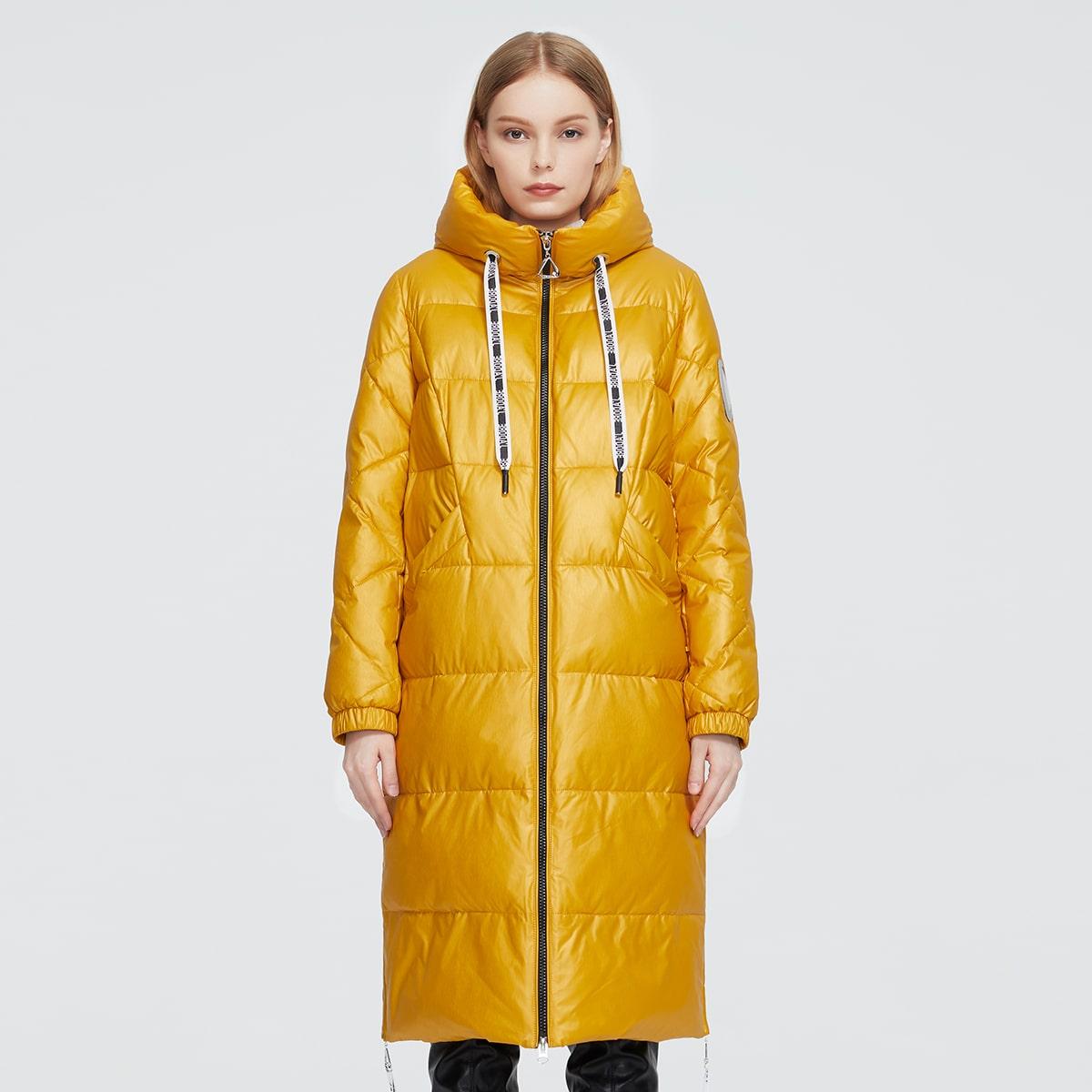 Zip Up Pocket Detail Drawstring Hooded Puffer Coat