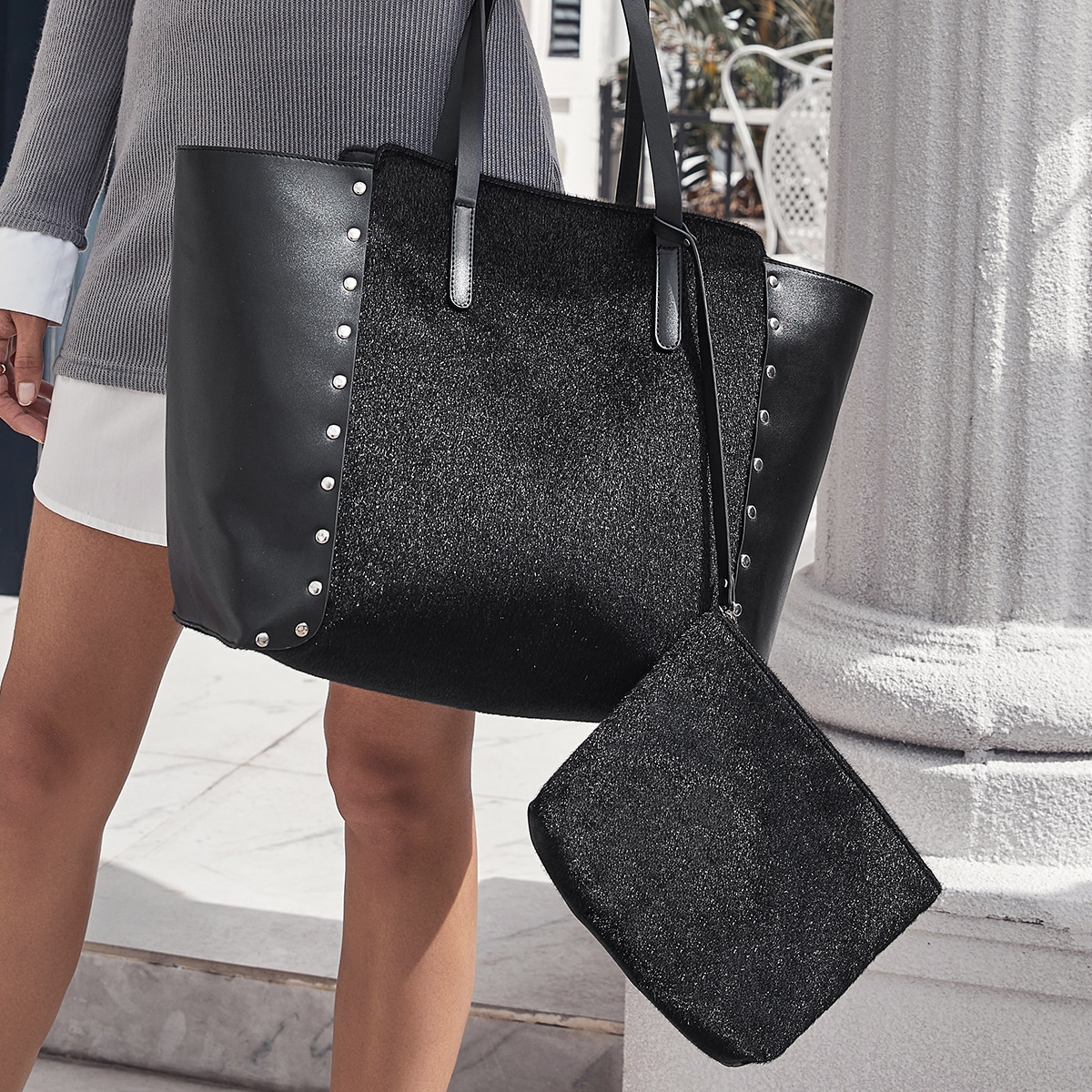 Studded Decor Tote Bags With Purse