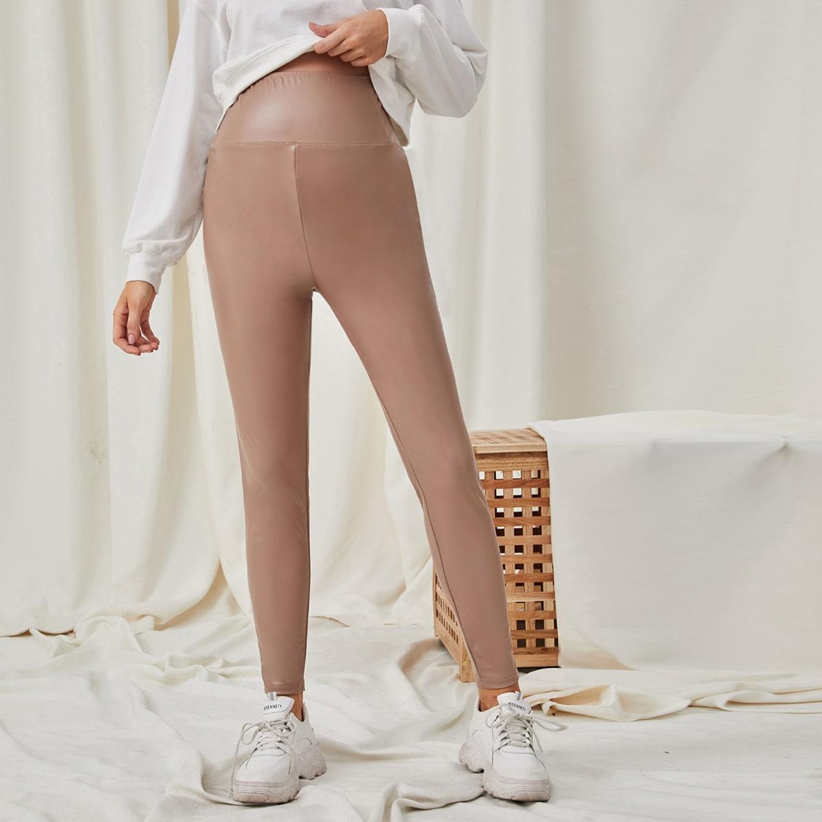Колготки из ПУ с широким поясом для беременных от SHEIN