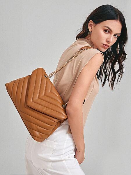 Chevron Flap Shoulder Bag