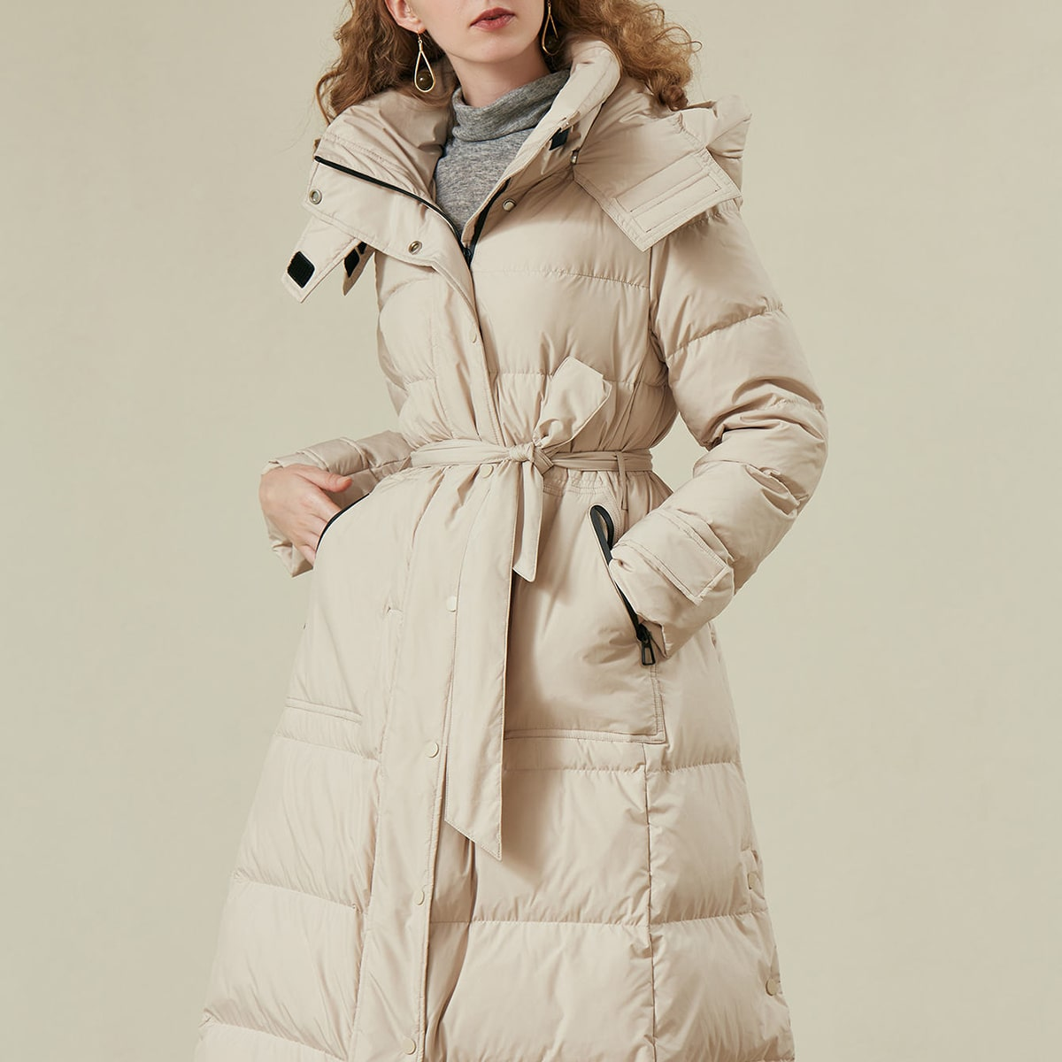 BELTED HOODED LONG DOWN COAT