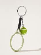 Tennis & Tennis Racket Charm Keychain